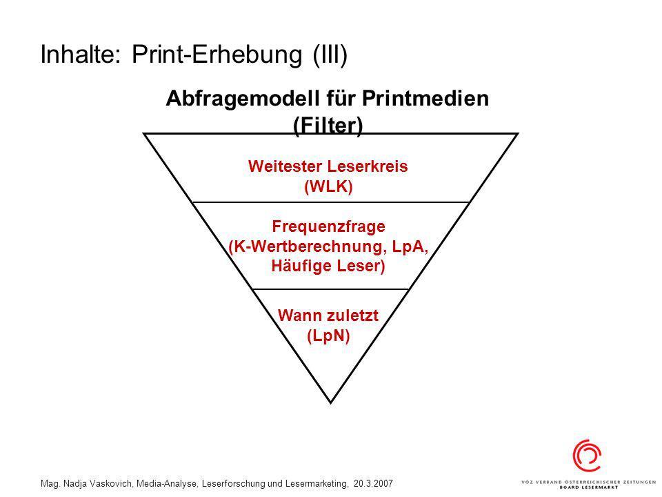 Mag. Nadja Vaskovich, Media-Analyse, Leserforschung und Lesermarketing, 20.3.2007 Weitester Leserkreis (WLK) Frequenzfrage (K-Wertberechnung, LpA, Häu