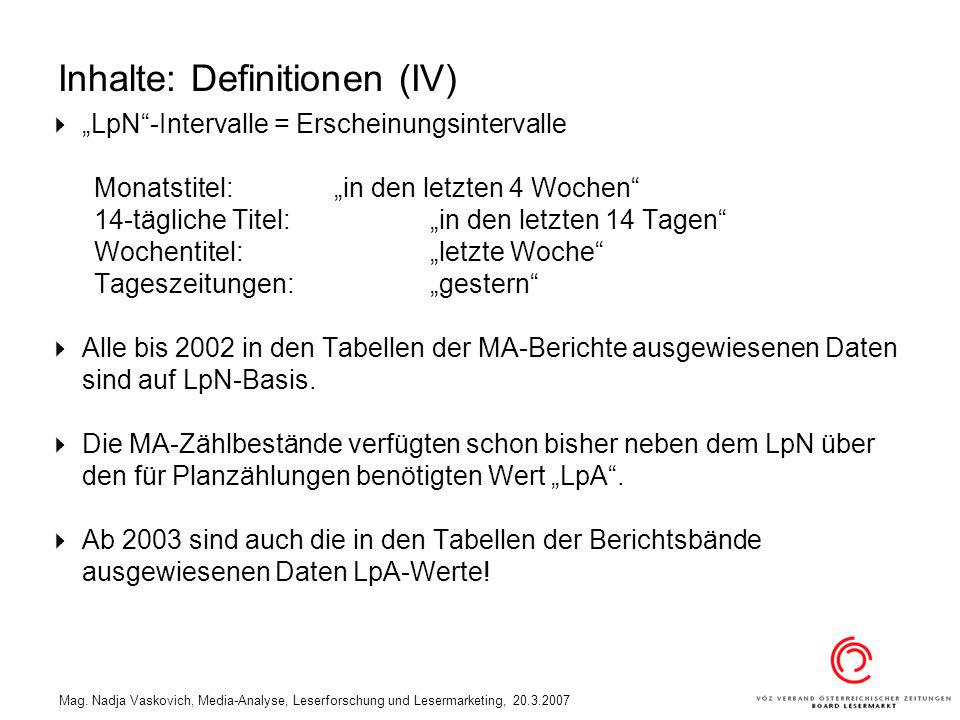 Mag. Nadja Vaskovich, Media-Analyse, Leserforschung und Lesermarketing, 20.3.2007 Inhalte: Definitionen (IV) LpN-Intervalle = Erscheinungsintervalle M