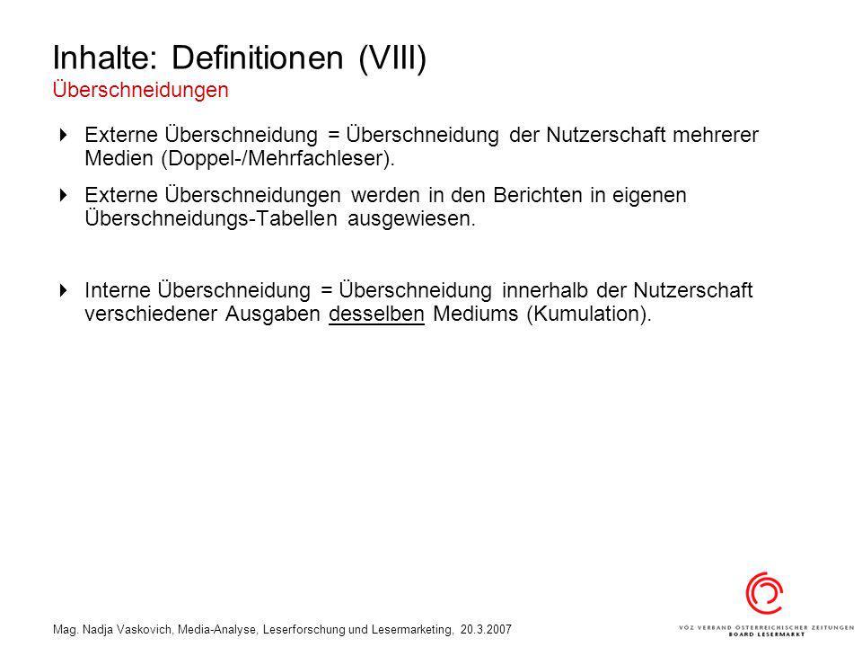 Mag. Nadja Vaskovich, Media-Analyse, Leserforschung und Lesermarketing, 20.3.2007 Inhalte: Definitionen (VIII) Überschneidungen Externe Überschneidung