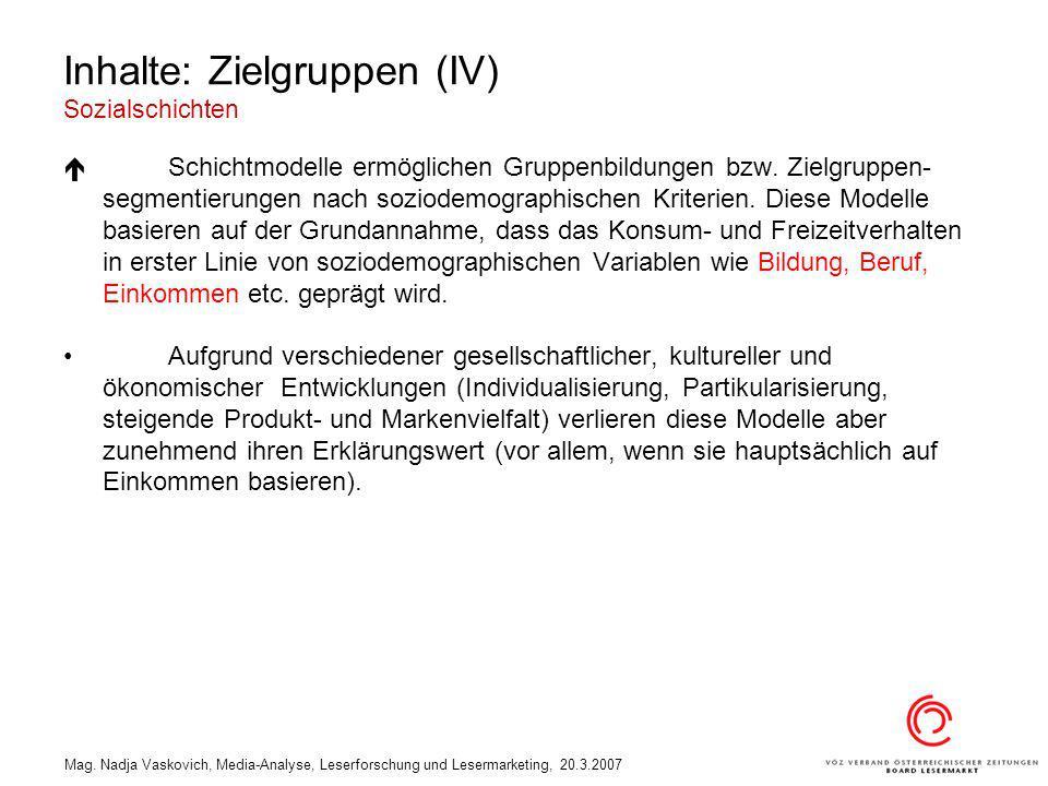 Mag. Nadja Vaskovich, Media-Analyse, Leserforschung und Lesermarketing, 20.3.2007 Inhalte: Zielgruppen (IV) Sozialschichten Schichtmodelle ermöglichen