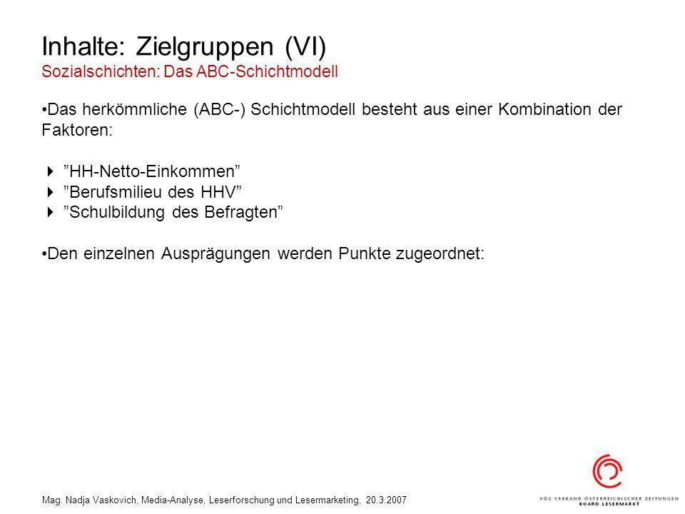 Mag. Nadja Vaskovich, Media-Analyse, Leserforschung und Lesermarketing, 20.3.2007 Inhalte: Zielgruppen (VI) Sozialschichten: Das ABC-Schichtmodell Das