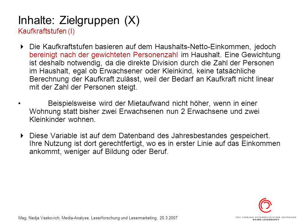 Mag. Nadja Vaskovich, Media-Analyse, Leserforschung und Lesermarketing, 20.3.2007 Inhalte: Zielgruppen (X) Kaufkraftstufen (I) Die Kaufkraftstufen bas