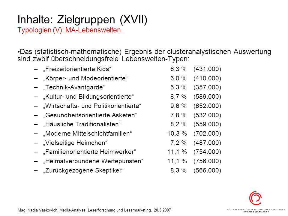 Mag. Nadja Vaskovich, Media-Analyse, Leserforschung und Lesermarketing, 20.3.2007 Inhalte: Zielgruppen (XVII) Typologien (V): MA-Lebenswelten Das (sta
