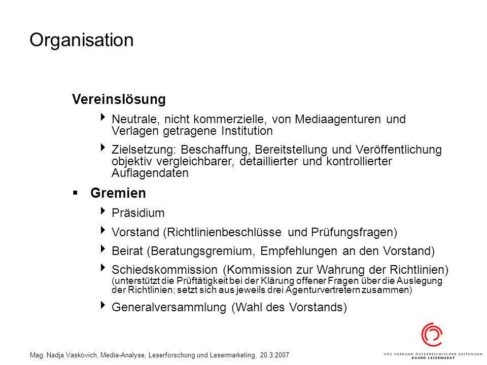 Mag. Nadja Vaskovich, Media-Analyse, Leserforschung und Lesermarketing, 20.3.2007 Vereinslösung Neutrale, nicht kommerzielle, von Mediaagenturen und V