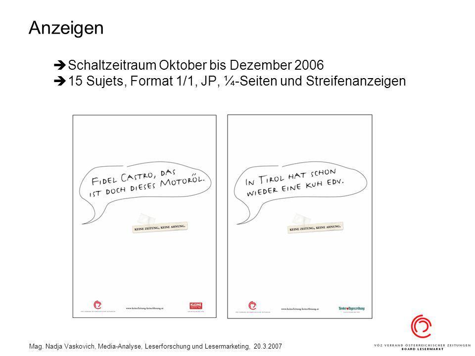 Mag. Nadja Vaskovich, Media-Analyse, Leserforschung und Lesermarketing, 20.3.2007 Schaltzeitraum Oktober bis Dezember 2006 15 Sujets, Format 1/1, JP,