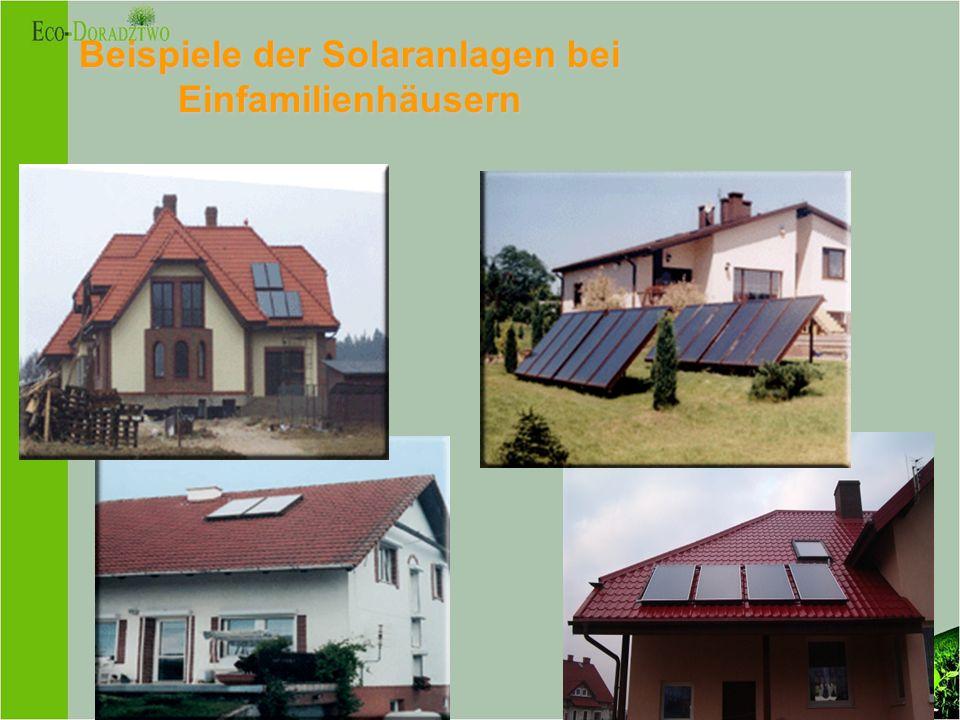 Beispiele der Solaranlagen bei Einfamilienhäusern