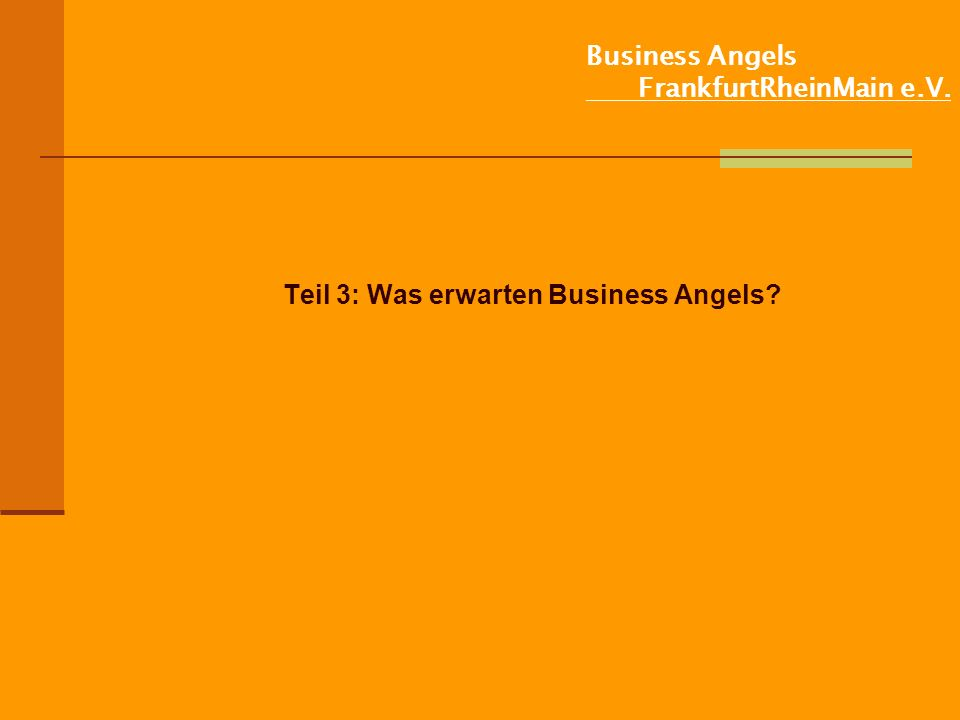 Business Angels FrankfurtRheinMain e.V. Teil 3: Was erwarten Business Angels?