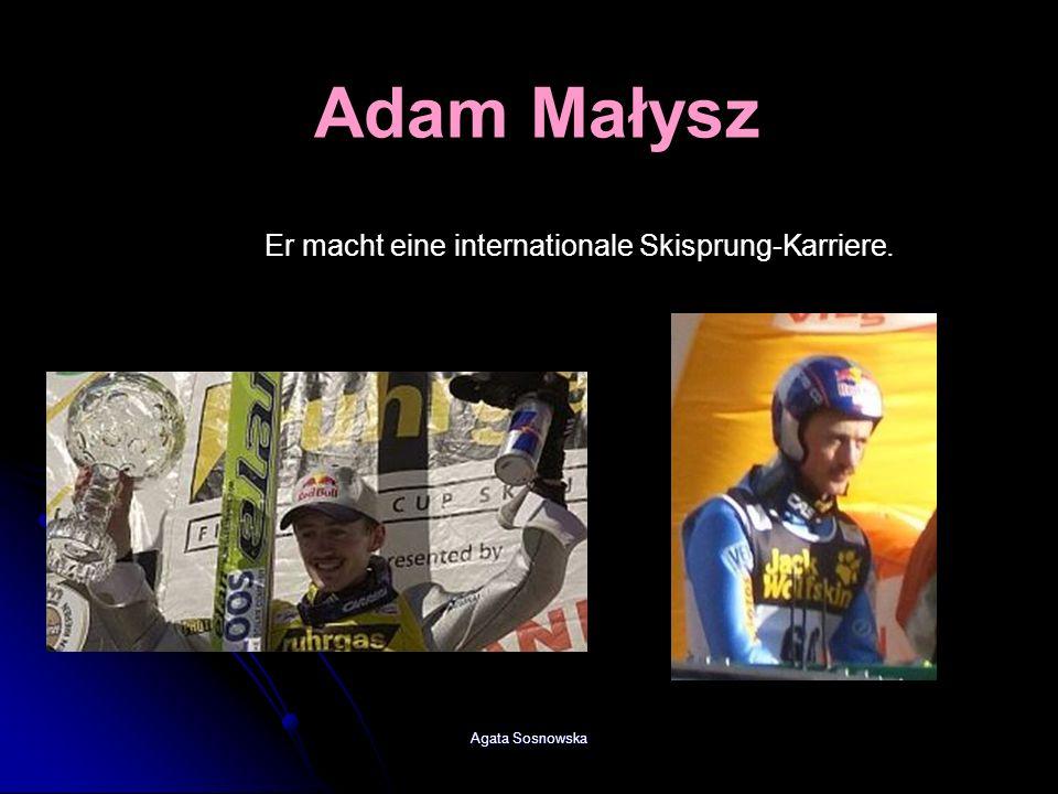 Agata Sosnowska Er macht eine internationale Skisprung-Karriere. Adam Małysz