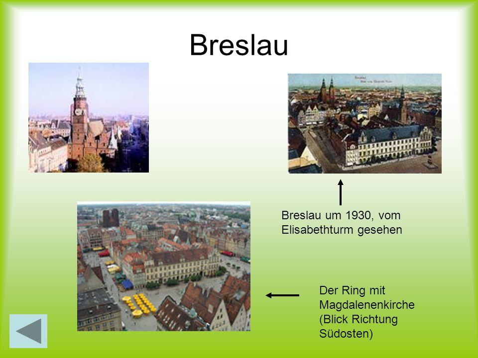Breslau Breslau um 1930, vom Elisabethturm gesehen Der Ring mit Magdalenenkirche (Blick Richtung Südosten)