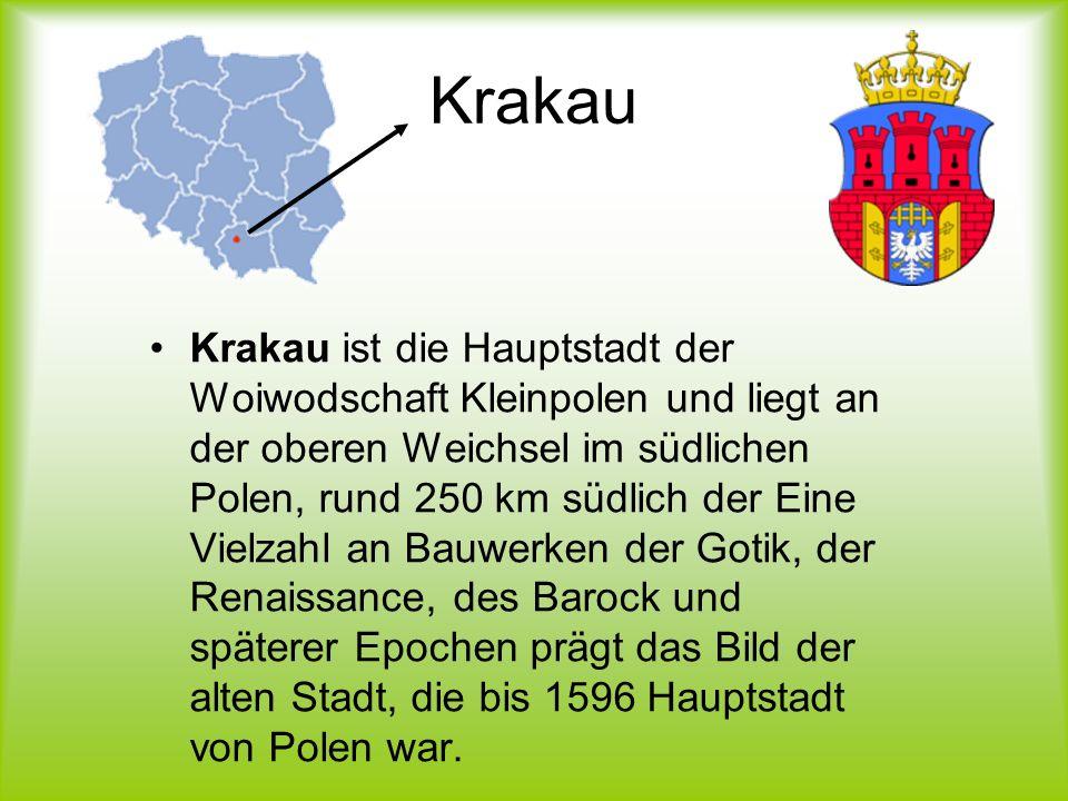 Krakau Krakau ist die Hauptstadt der Woiwodschaft Kleinpolen und liegt an der oberen Weichsel im südlichen Polen, rund 250 km südlich der Eine Vielzah