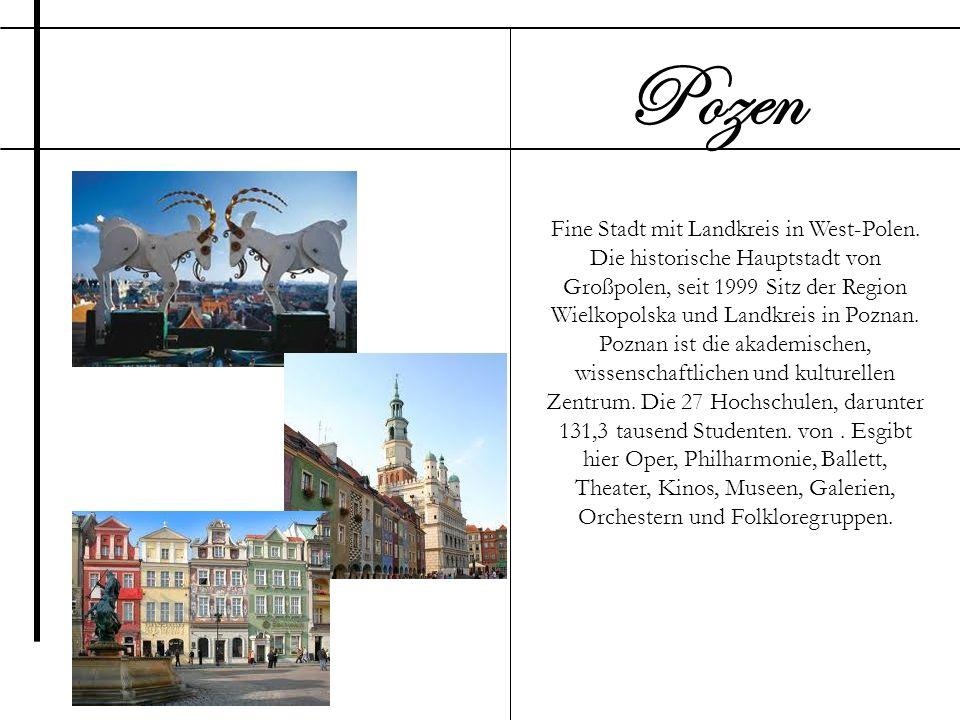 Fine Stadt mit Landkreis in West-Polen. Die historische Hauptstadt von Großpolen, seit 1999 Sitz der Region Wielkopolska und Landkreis in Poznan. Pozn