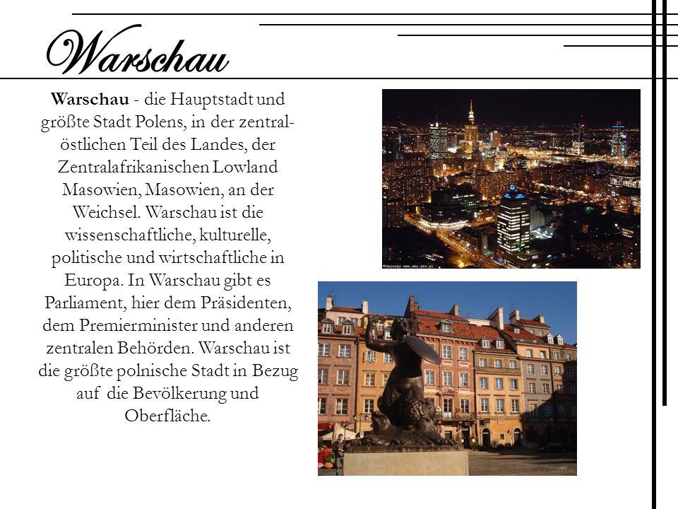 Warschau - die Hauptstadt und größte Stadt Polens, in der zentral- östlichen Teil des Landes, der Zentralafrikanischen Lowland Masowien, Masowien, an