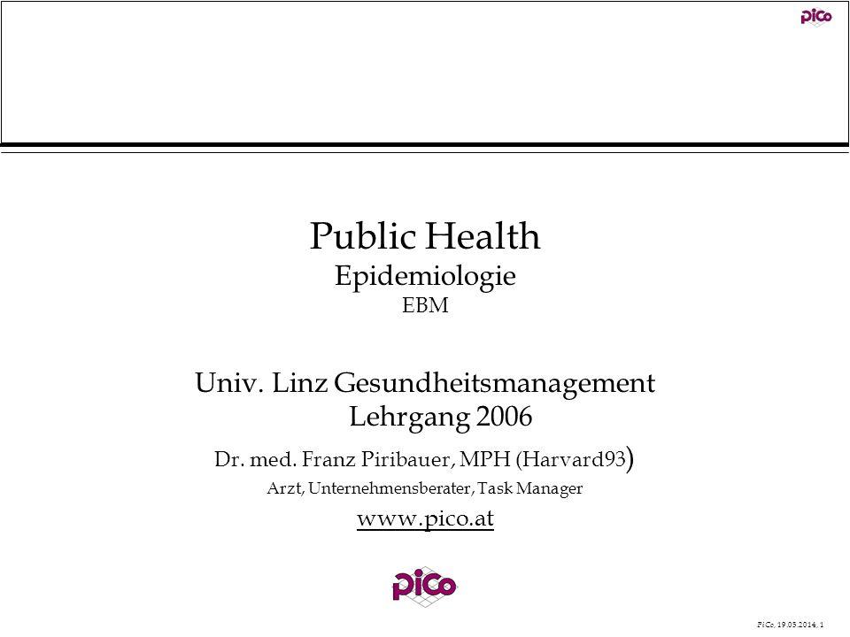 PiCo, 19.05.2014, 1 Public Health Epidemiologie EBM Univ. Linz Gesundheitsmanagement Lehrgang 2006 Dr. med. Franz Piribauer, MPH (Harvard93 ) Arzt, Un