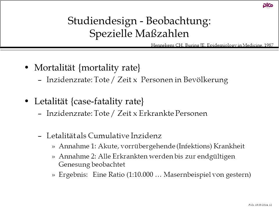 PiCo, 19.05.2014, 12 Studiendesign - Beobachtung: Spezielle Maßzahlen Mortalität {mortality rate} –Inzidenzrate: Tote / Zeit x Personen in Bevölkerung