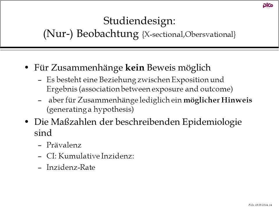 PiCo, 19.05.2014, 14 Studiendesign: (Nur-) Beobachtung {X-sectional,Obersvational} Für Zusammenhänge kein Beweis möglich –Es besteht eine Beziehung zw