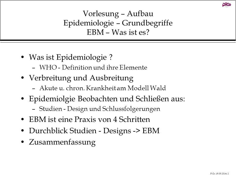 PiCo, 19.05.2014, 2 Vorlesung – Aufbau Epidemiologie – Grundbegriffe EBM – Was ist es? Was ist Epidemiologie ? –WHO - Definition und ihre Elemente Ver