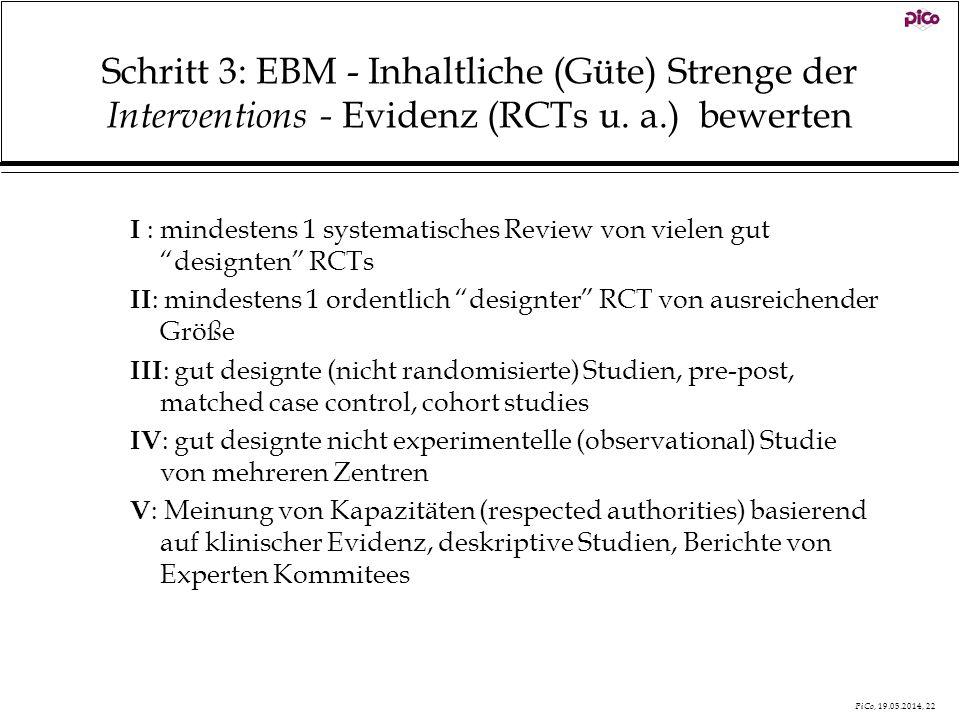 PiCo, 19.05.2014, 22 Schritt 3: EBM - Inhaltliche (Güte) Strenge der Interventions - Evidenz (RCTs u. a.) bewerten I : mindestens 1 systematisches Rev