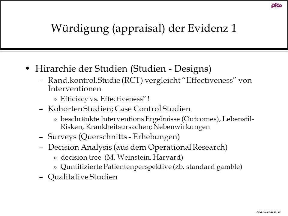 PiCo, 19.05.2014, 23 Würdigung (appraisal) der Evidenz 1 Hirarchie der Studien (Studien - Designs) –Rand.kontrol.Studie (RCT) vergleicht Effectiveness