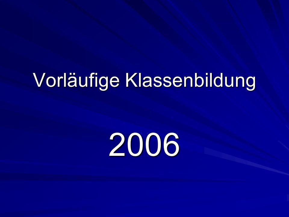 Vorläufige Klassenbildung 2006 3.Arbeitsschritte 6.