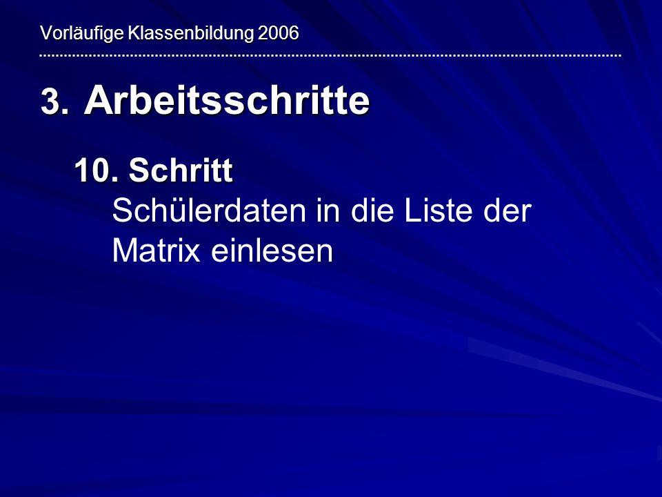 Vorläufige Klassenbildung 2006 3. Arbeitsschritte 10. Schritt 10. Schritt Schülerdaten in die Liste der Matrix einlesen