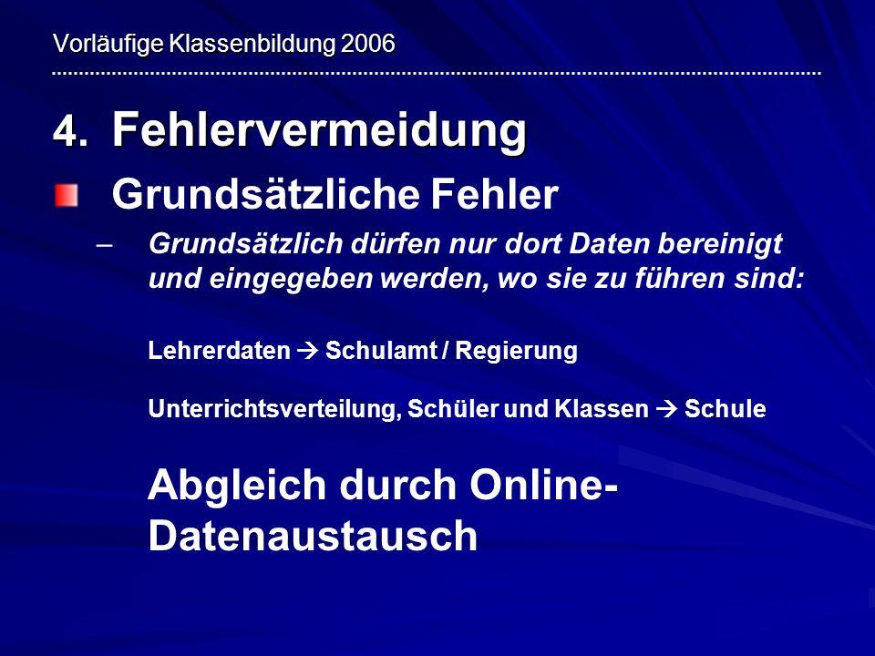 Vorläufige Klassenbildung 2006 4. Fehlervermeidung Grundsätzliche Fehler – –Grundsätzlich dürfen nur dort Daten bereinigt und eingegeben werden, wo si