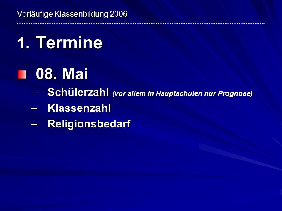 Vorläufige Klassenbildung 2006 1. Termine 08. Mai –Schülerzahl (vor allem in Hauptschulen nur Prognose) –Klassenzahl –Religionsbedarf