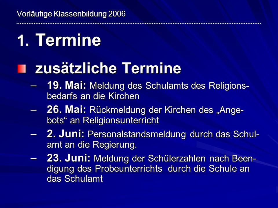 Vorläufige Klassenbildung 2006 1. Termine zusätzliche Termine –19. Mai: Meldung des Schulamts des Religions- bedarfs an die Kirchen –26. Mai: Rückmeld