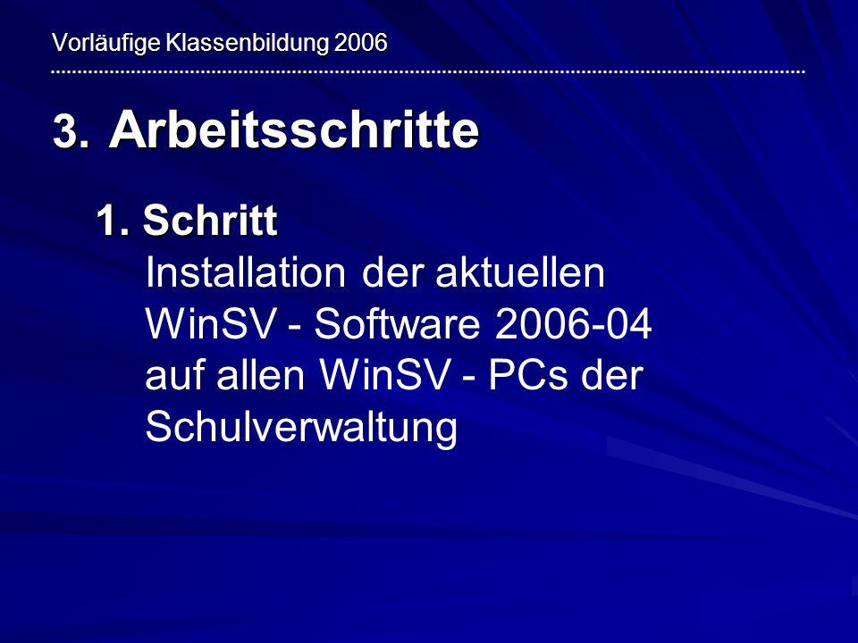Vorläufige Klassenbildung 2006 3. Arbeitsschritte 1. Schritt 1. Schritt Installation der aktuellen WinSV - Software 2006-04 auf allen WinSV - PCs der
