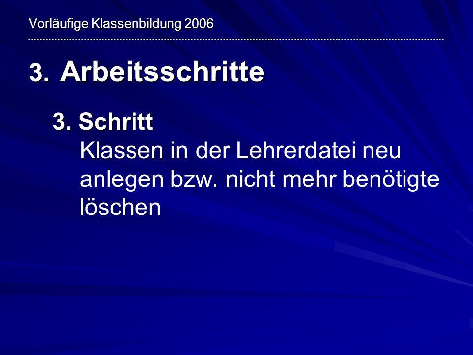 Vorläufige Klassenbildung 2006 3.Arbeitsschritte 4.