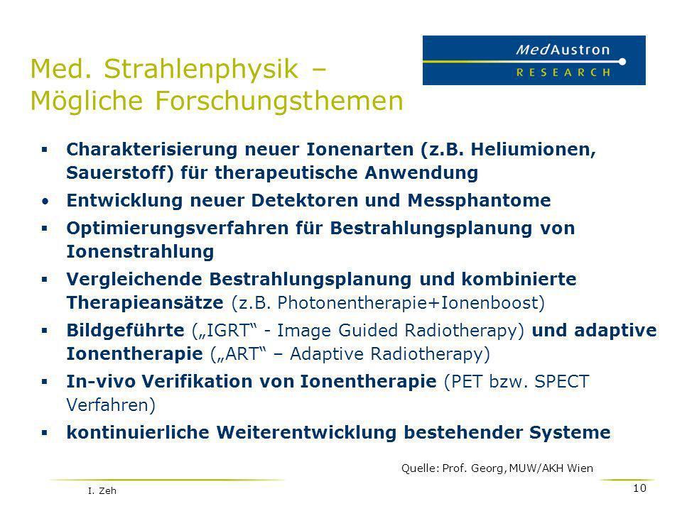 Med. Strahlenphysik – Mögliche Forschungsthemen Charakterisierung neuer Ionenarten (z.B. Heliumionen, Sauerstoff) für therapeutische Anwendung Entwick