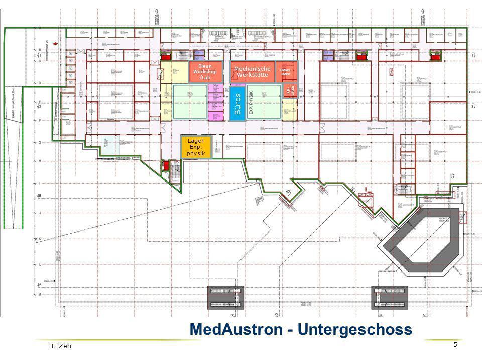 I. Zeh 5 Lager Exp. physik Büros Mechanische Werkstätte Elektr. labor RF- Labor MedAustron - Untergeschoss Clean Workshop /Lab