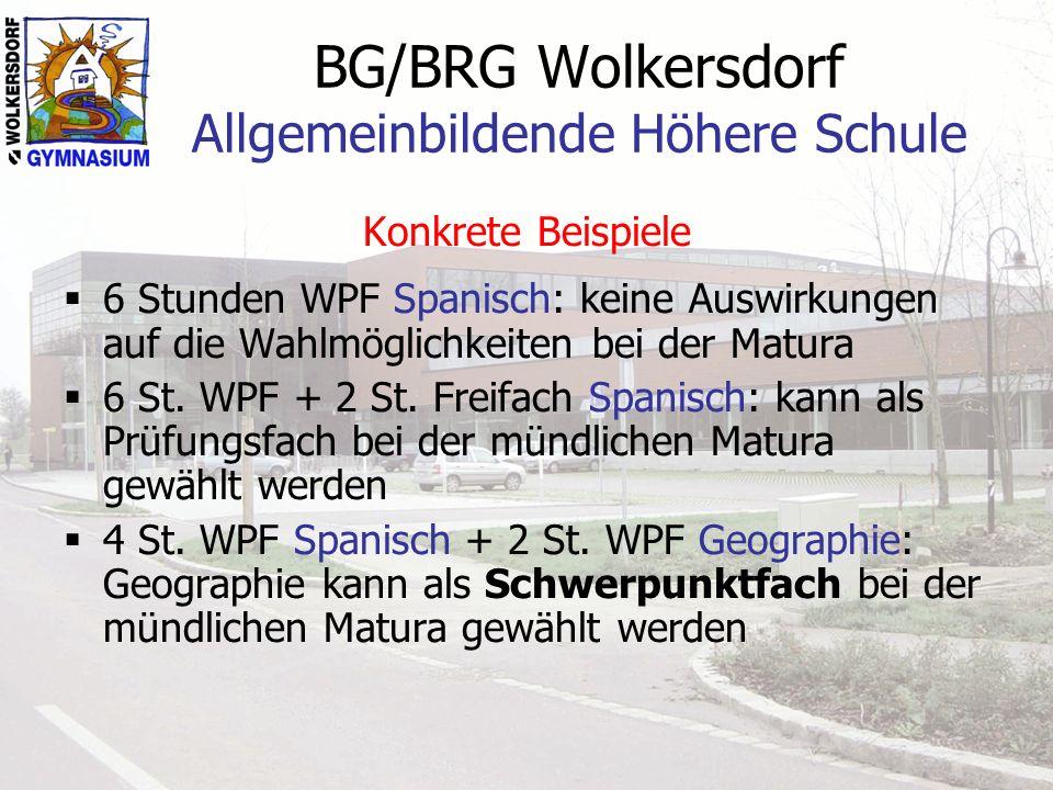 BG/BRG Wolkersdorf Allgemeinbildende Höhere Schule Konkrete Beispiele 6 Stunden WPF Spanisch: keine Auswirkungen auf die Wahlmöglichkeiten bei der Matura 6 St.