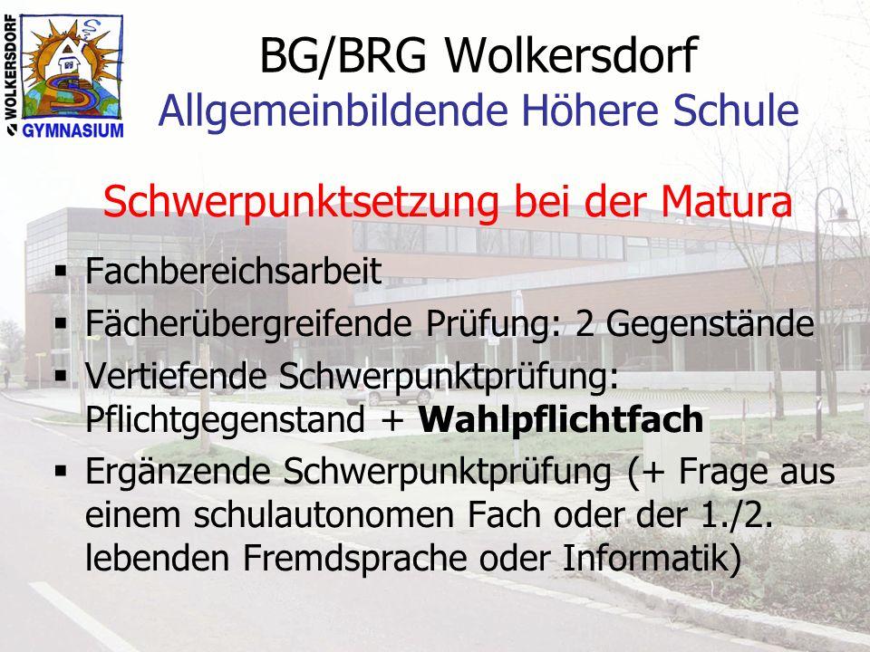BG/BRG Wolkersdorf Allgemeinbildende Höhere Schule Schwerpunktsetzung bei der Matura Fachbereichsarbeit Fächerübergreifende Prüfung: 2 Gegenstände Vertiefende Schwerpunktprüfung: Pflichtgegenstand + Wahlpflichtfach Ergänzende Schwerpunktprüfung (+ Frage aus einem schulautonomen Fach oder der 1./2.
