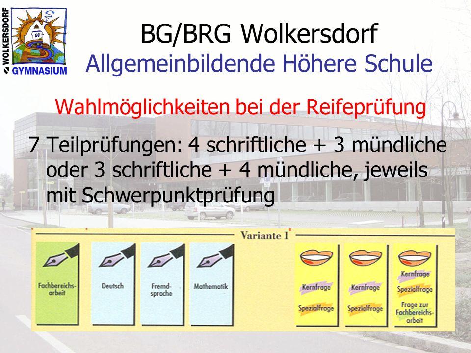 BG/BRG Wolkersdorf Allgemeinbildende Höhere Schule Wahlmöglichkeiten bei der Reifeprüfung 7 Teilprüfungen: 4 schriftliche + 3 mündliche oder 3 schriftliche + 4 mündliche, jeweils mit Schwerpunktprüfung
