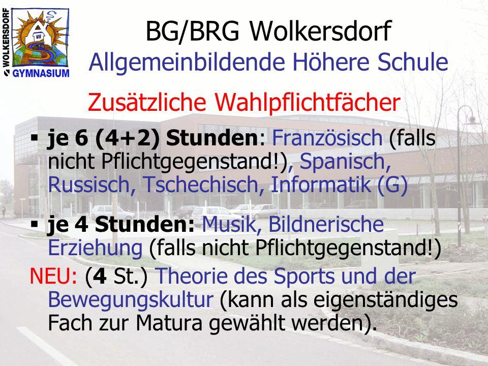 BG/BRG Wolkersdorf Allgemeinbildende Höhere Schule Wahlpflichtgegenstände GYMNASIUM6.
