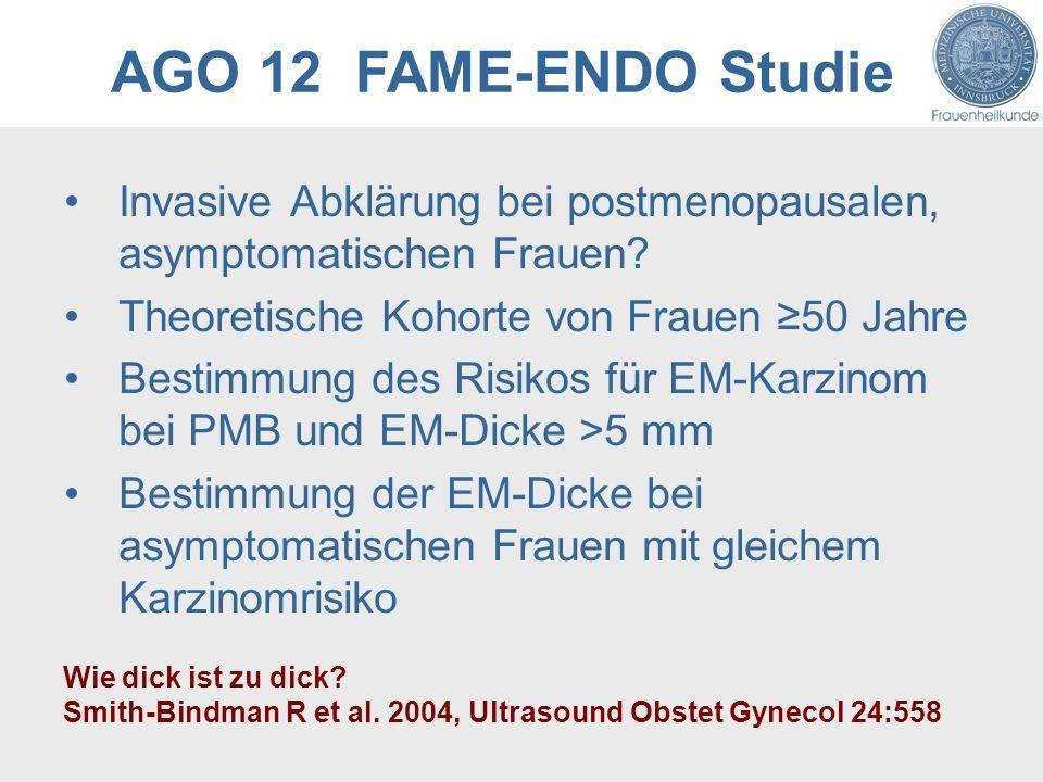 AGO 12 FAME-ENDO Studie Invasive Abklärung bei postmenopausalen, asymptomatischen Frauen? Theoretische Kohorte von Frauen 50 Jahre Bestimmung des Risi