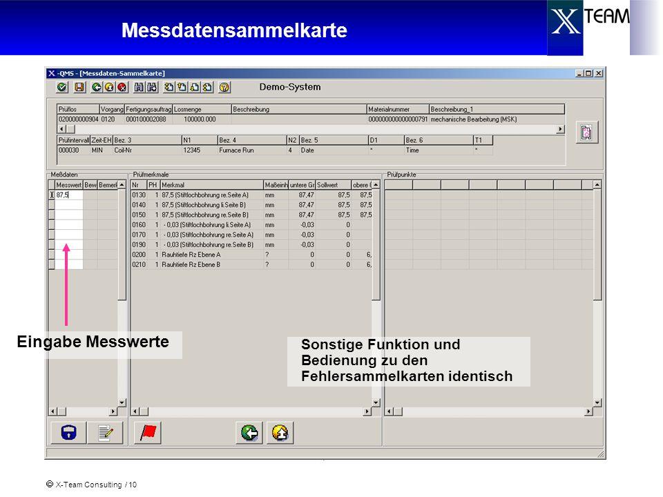 X-Team Consulting / 10 Messdatensammelkarte Eingabe Messwerte Sonstige Funktion und Bedienung zu den Fehlersammelkarten identisch