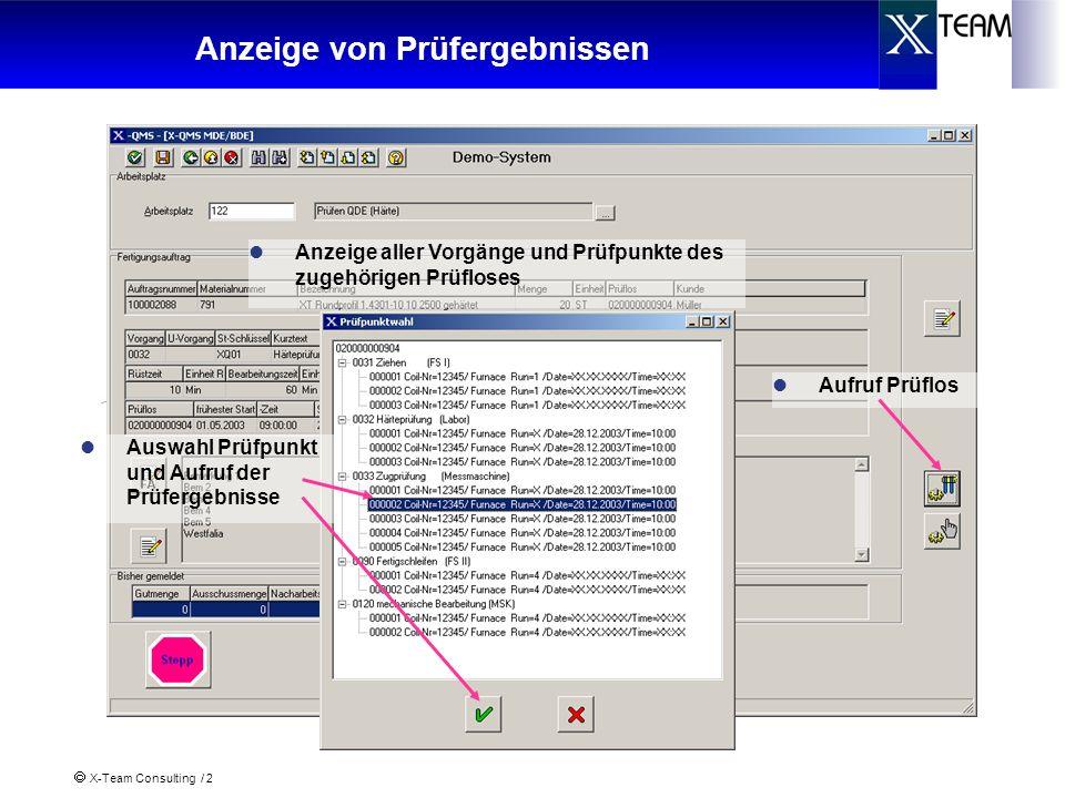 X-Team Consulting / 2 Anzeige von Prüfergebnissen Aufruf Prüflos Anzeige aller Vorgänge und Prüfpunkte des zugehörigen Prüfloses Auswahl Prüfpunkt und