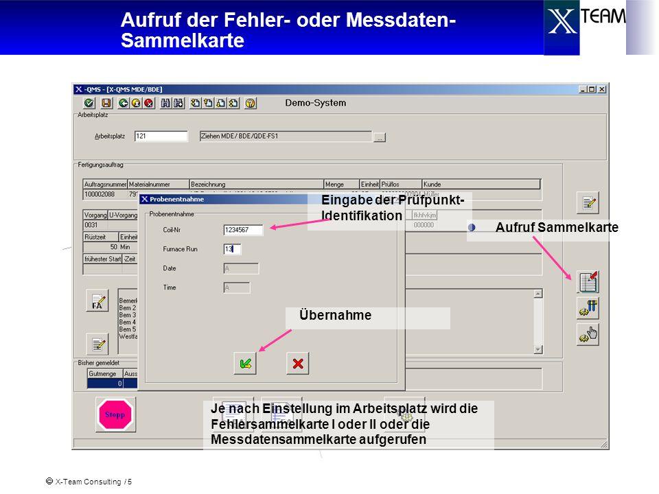 X-Team Consulting / 5 Aufruf der Fehler- oder Messdaten- Sammelkarte Aufruf Sammelkarte Eingabe der Prüfpunkt- Identifikation Übernahme Je nach Einste