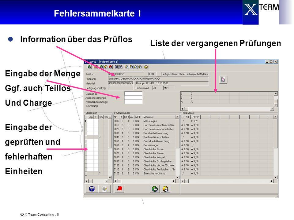 X-Team Consulting / 6 Fehlersammelkarte I Information über das Prüflos Eingabe der geprüften und fehlerhaften Einheiten Eingabe der Menge Ggf. auch Te