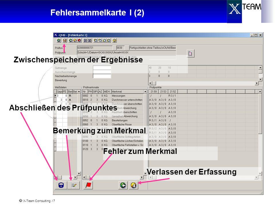 X-Team Consulting / 7 Fehlersammelkarte I (2) Zwischenspeichern der Ergebnisse Abschließen des Prüfpunktes Bemerkung zum Merkmal Fehler zum Merkmal Ve