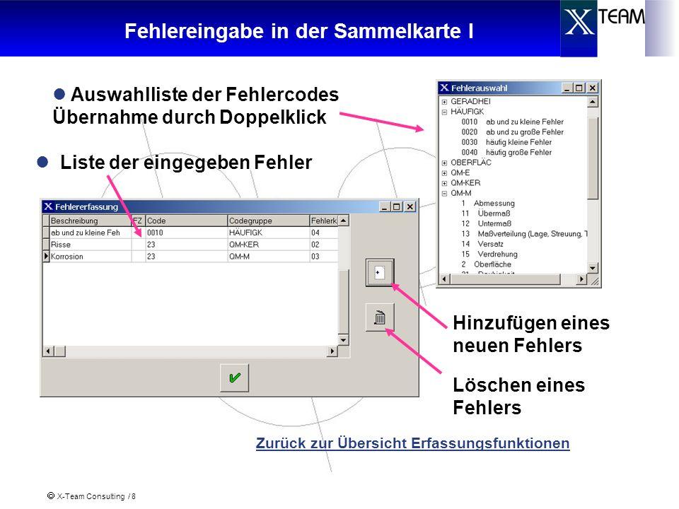 X-Team Consulting / 8 Fehlereingabe in der Sammelkarte I Hinzufügen eines neuen Fehlers Löschen eines Fehlers Zurück zur Übersicht Erfassungsfunktione
