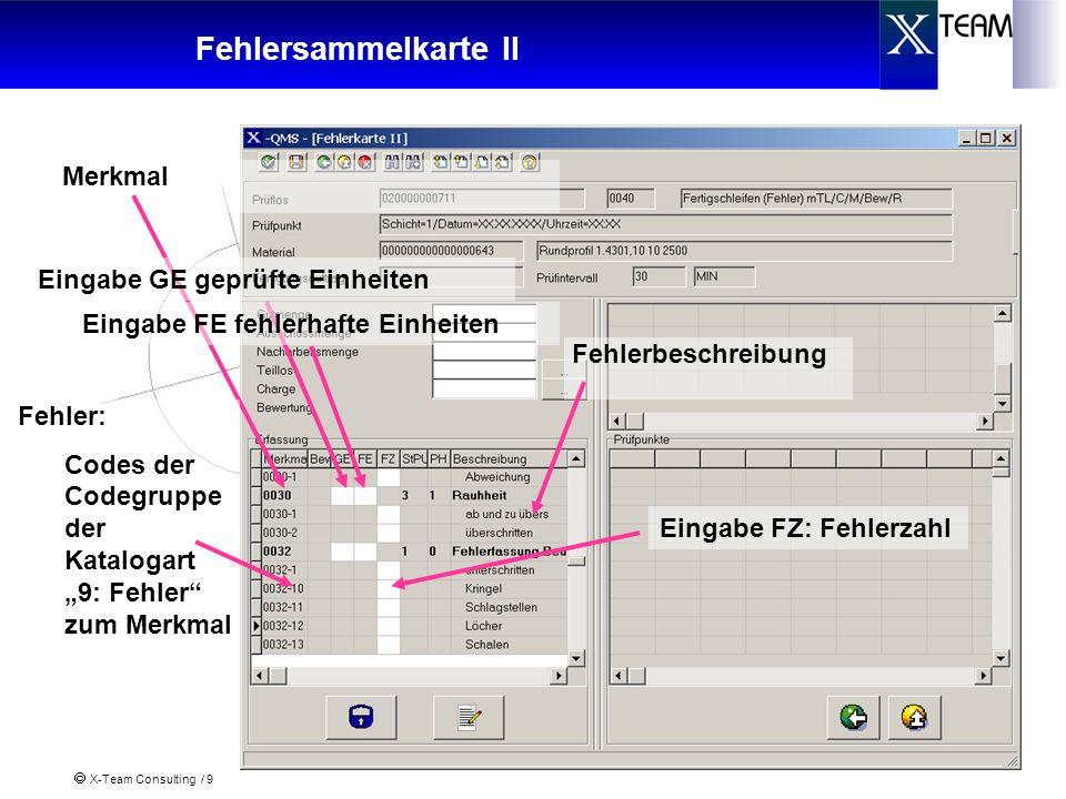 X-Team Consulting / 9 Fehlersammelkarte II Merkmal Fehlerbeschreibung Fehler: Codes der Codegruppe der Katalogart 9: Fehler zum Merkmal Eingabe GE gep