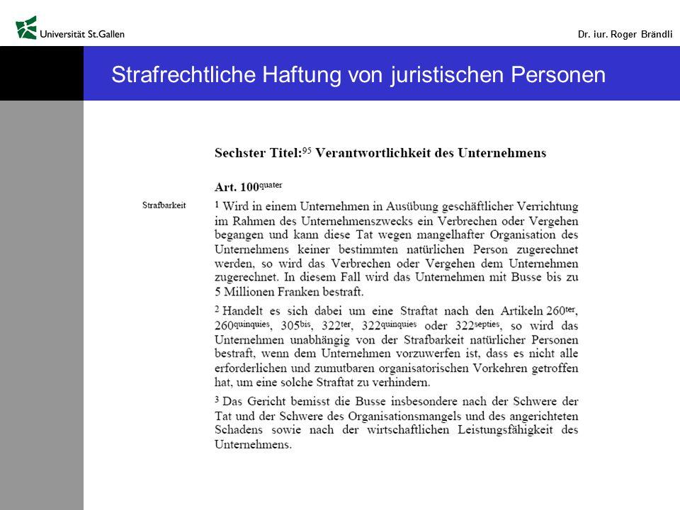 Dr. iur. Roger Brändli Strafrechtliche Haftung von juristischen Personen