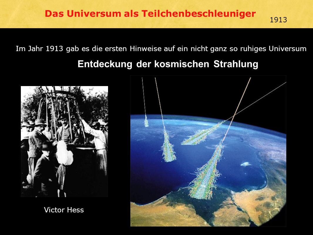 Victor Hess Entdeckung der kosmischen Strahlung Im Jahr 1913 gab es die ersten Hinweise auf ein nicht ganz so ruhiges Universum Das Universum als Teilchenbeschleuniger Victor Hess 1913