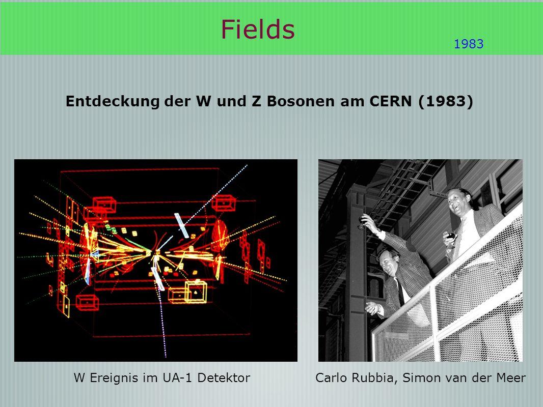 Fields 1983 Entdeckung der W und Z Bosonen am CERN (1983) Carlo Rubbia, Simon van der MeerW Ereignis im UA-1 Detektor