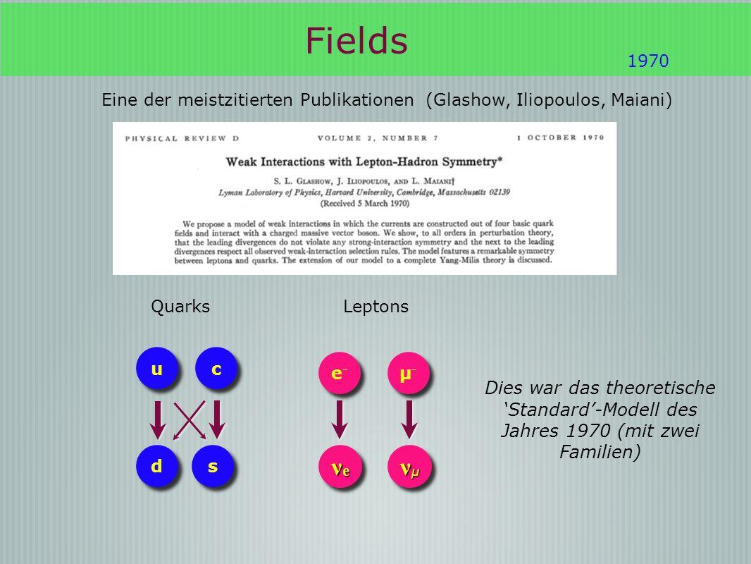 Fields Eine der meistzitierten Publikationen (Glashow, Iliopoulos, Maiani) 1970 c c u u d d s s Quarks νeνeνeνe νeνeνeνe νμνμνμνμ νμνμνμνμ e-e- e-e- µ-µ- µ-µ- Leptons Dies war das theoretische Standard-Modell des Jahres 1970 (mit zwei Familien)