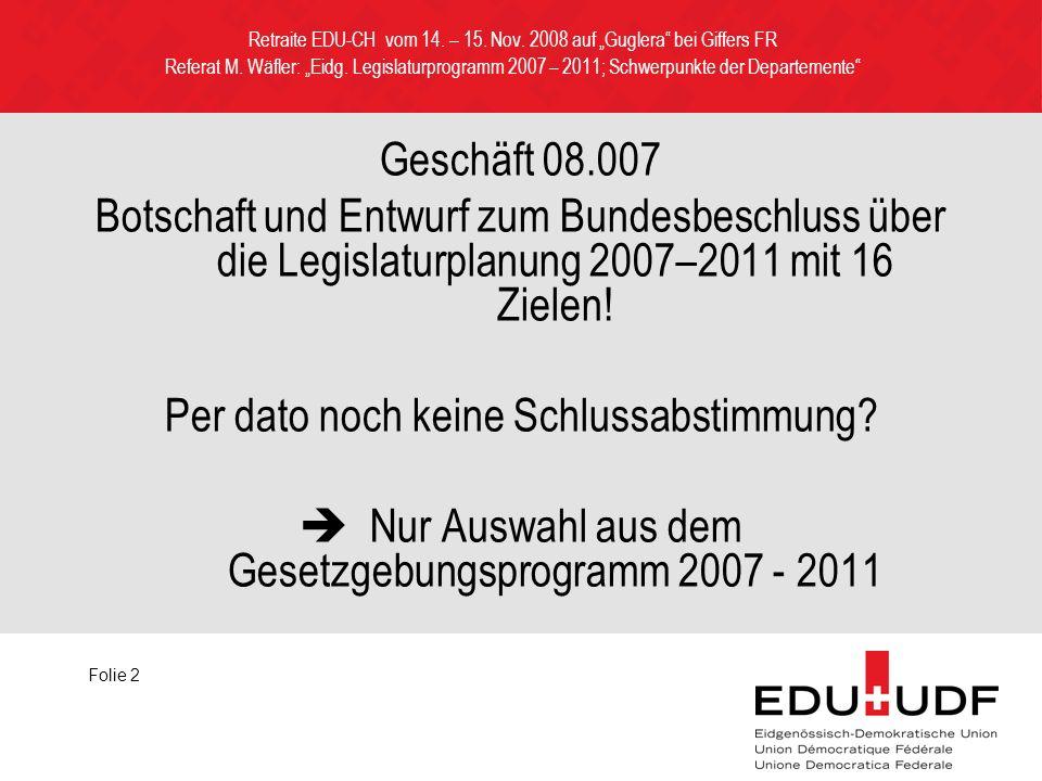 Geschäft 08.007 Botschaft und Entwurf zum Bundesbeschluss über die Legislaturplanung 2007–2011 mit 16 Zielen.