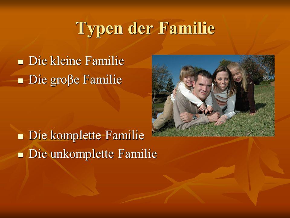 Typen der Familie Die kleine Familie Die kleine Familie Die groβe Familie Die groβe Familie Die komplette Familie Die komplette Familie Die unkomplett