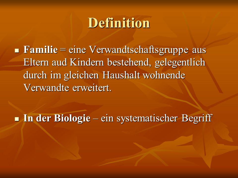 Definition Familie = eine Verwandtschaftsgruppe aus Eltern aud Kindern bestehend, gelegentlich durch im gleichen Haushalt wohnende Verwandte erweitert